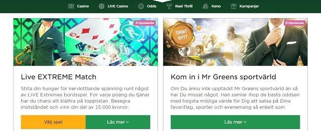 Mr greens kampanjsida