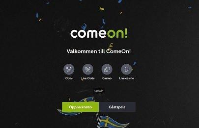 ComeOn välkomstsida