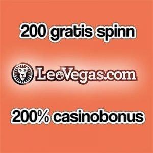 Leo Vegas ger 200 gratis spinn plus 200% bonus
