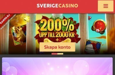 SverigeCasino welcome