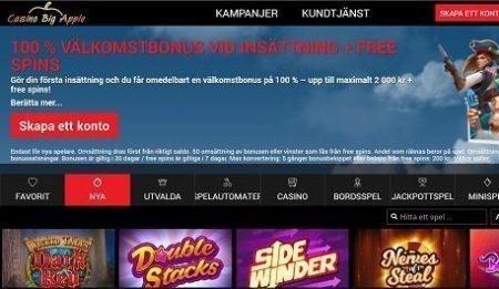 Big Apple Casino homepage