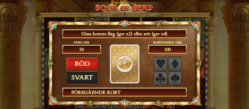 Gamble funktion på Book of Dead
