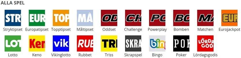 Svenska Spel spelutbud