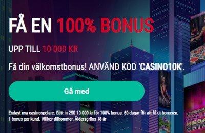 Pokerstars välkomstbonus med bonuskod CASINO10K